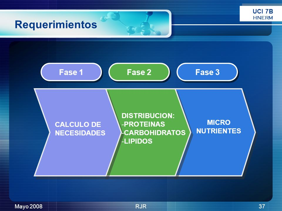 Requerimientos Fase 1 Fase 2 Fase 3 DISTRIBUCION: PROTEINAS MICRO