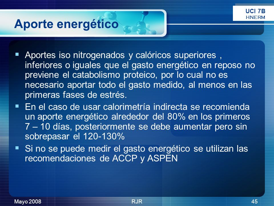 UCI 7B HNERM. Aporte energético.