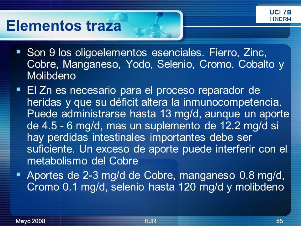 UCI 7B HNERM. Elementos traza. Son 9 los oligoelementos esenciales. Fierro, Zinc, Cobre, Manganeso, Yodo, Selenio, Cromo, Cobalto y Molibdeno.