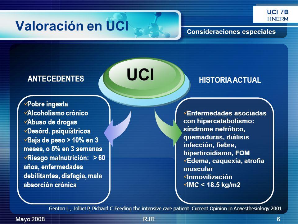 UCI Valoración en UCI ANTECEDENTES HISTORIA ACTUAL Pobre ingesta