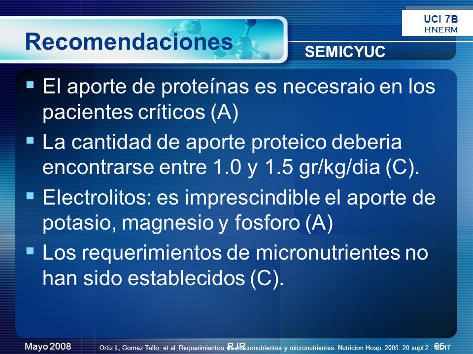 UCI 7B HNERM. Recomendaciones. SEMICYUC. El aporte de proteínas es necesraio en los pacientes críticos (A)
