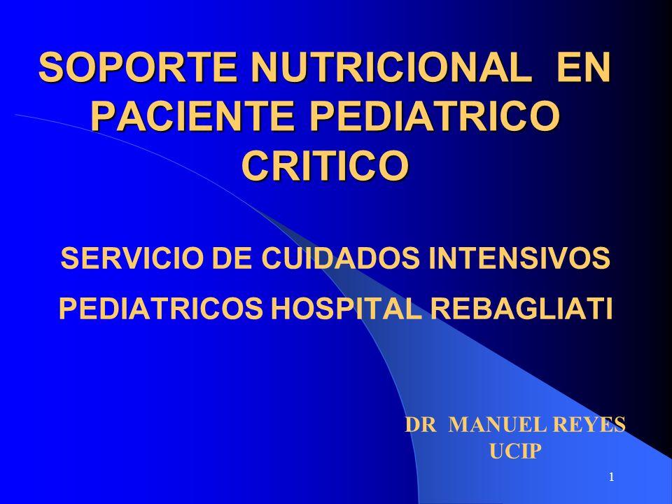SOPORTE NUTRICIONAL EN PACIENTE PEDIATRICO CRITICO