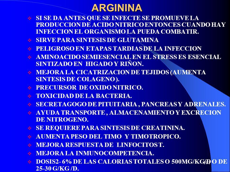 ARGININA SI SE DA ANTES QUE SE INFECTE SE PROMUEVE LA PRODUCCION DE ACIDO NITRICO ENTONCES CUANDO HAY INFECCION EL ORGANISMO LA PUEDA COMBATIR.