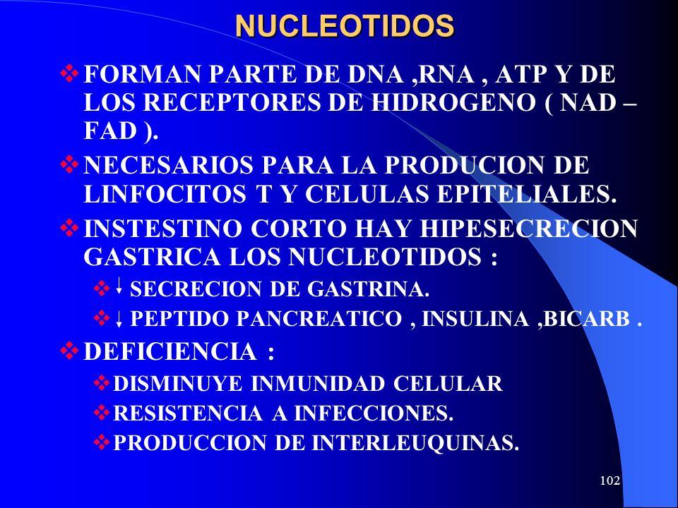 NUCLEOTIDOS FORMAN PARTE DE DNA ,RNA , ATP Y DE LOS RECEPTORES DE HIDROGENO ( NAD – FAD ).