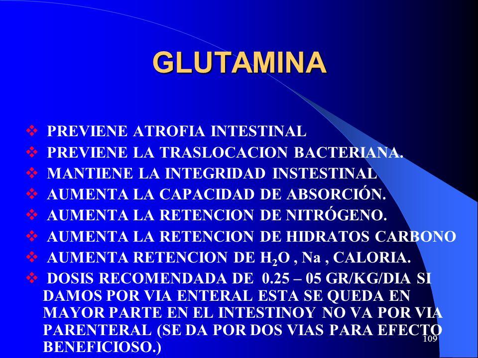 GLUTAMINA PREVIENE ATROFIA INTESTINAL