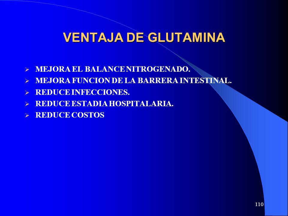 VENTAJA DE GLUTAMINA MEJORA EL BALANCE NITROGENADO.
