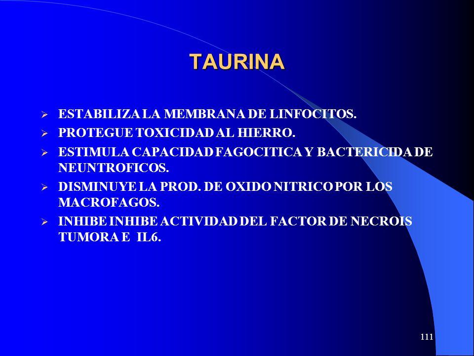 TAURINA ESTABILIZA LA MEMBRANA DE LINFOCITOS.