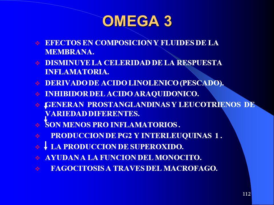 OMEGA 3 EFECTOS EN COMPOSICION Y FLUIDES DE LA MEMBRANA.