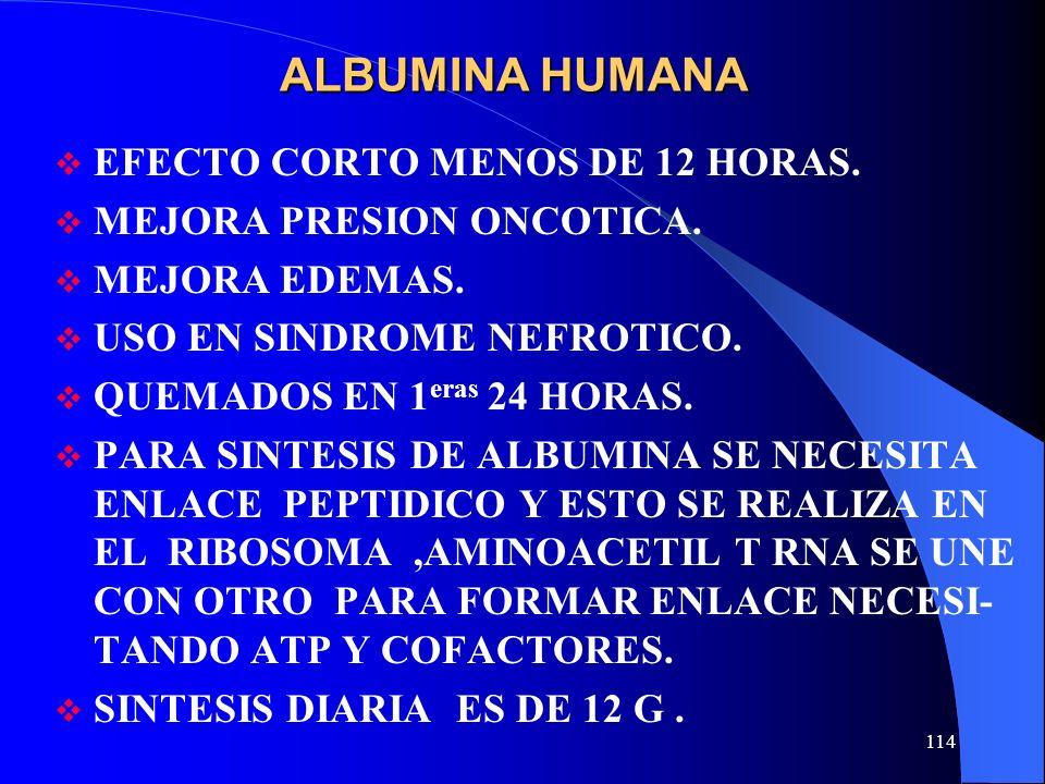 ALBUMINA HUMANA EFECTO CORTO MENOS DE 12 HORAS.