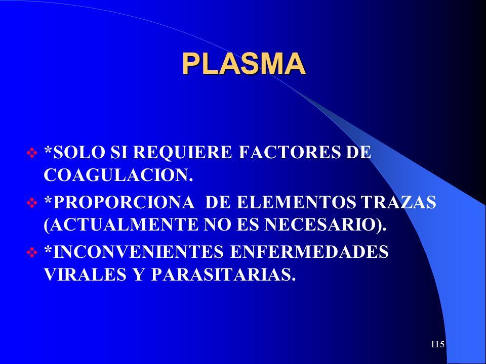 PLASMA *SOLO SI REQUIERE FACTORES DE COAGULACION.