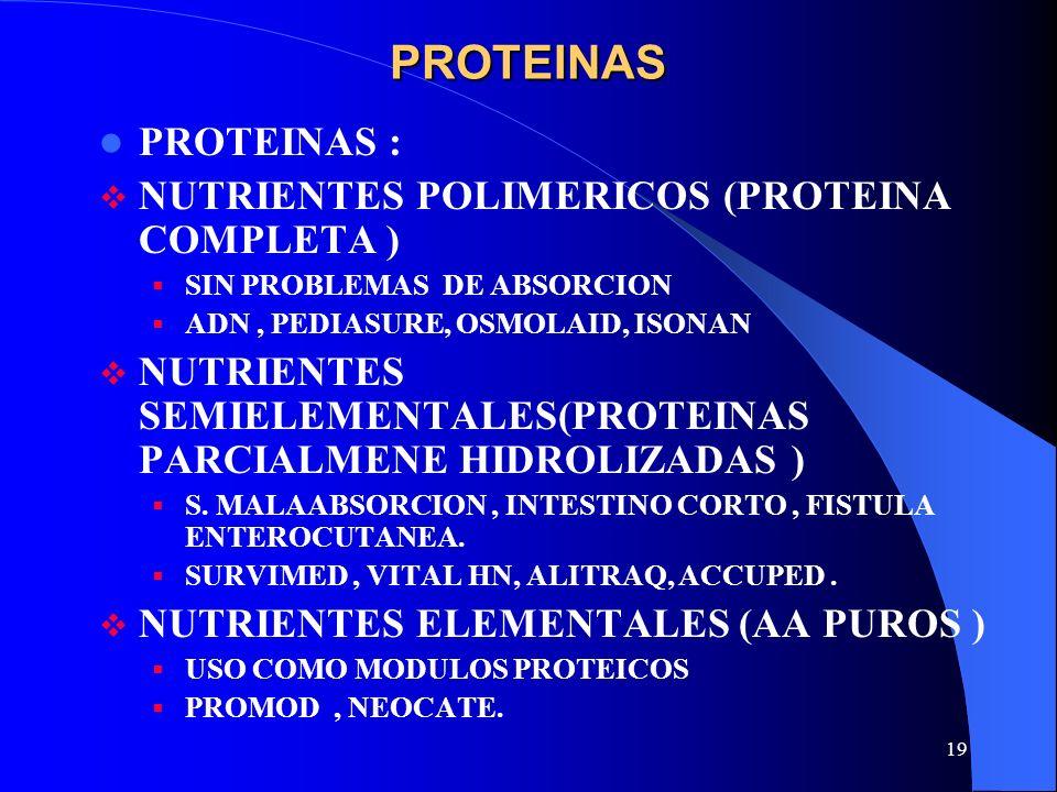 PROTEINAS PROTEINAS : NUTRIENTES POLIMERICOS (PROTEINA COMPLETA )