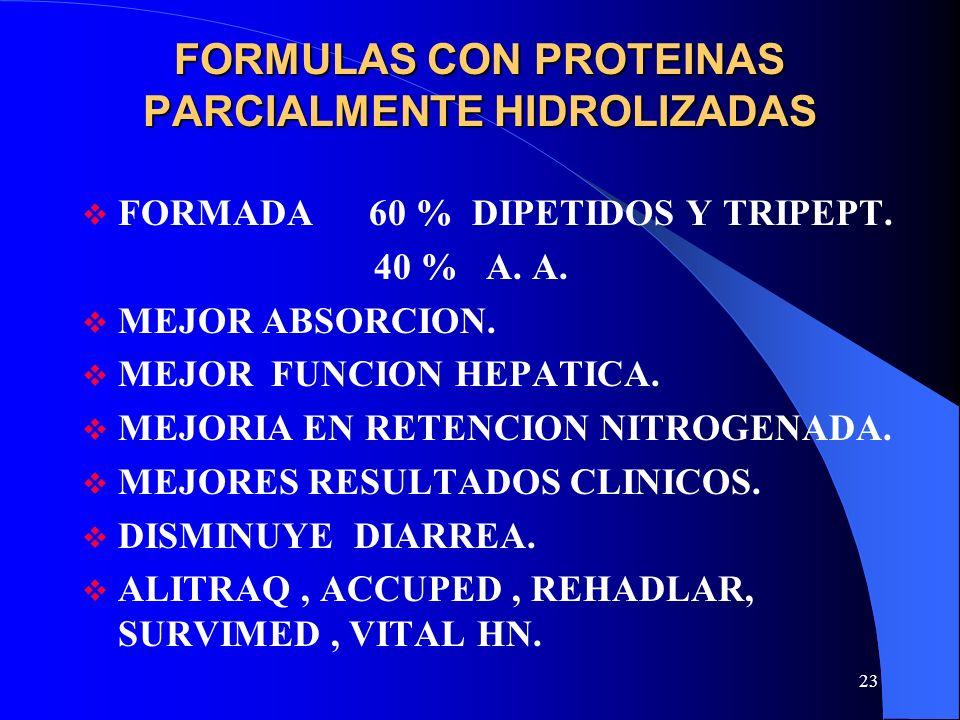FORMULAS CON PROTEINAS PARCIALMENTE HIDROLIZADAS