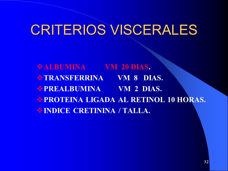 CRITERIOS VISCERALES ALBUMINA VM 20 DIAS. TRANSFERRINA VM 8 DIAS.