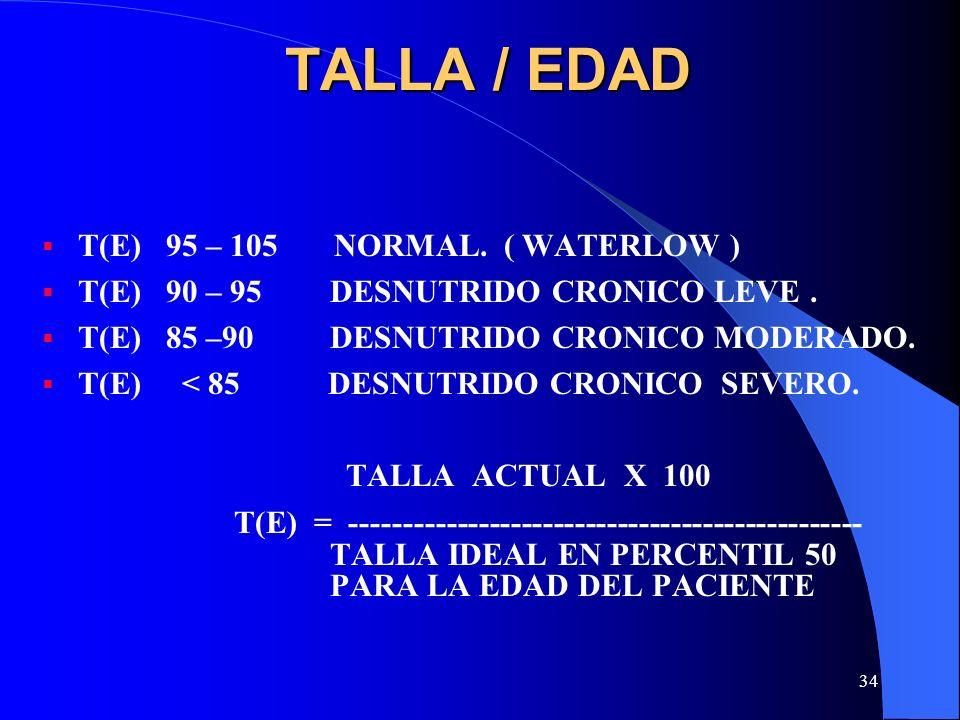 TALLA / EDAD T(E) 95 – 105 NORMAL. ( WATERLOW )