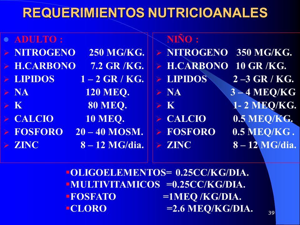 REQUERIMIENTOS NUTRICIOANALES