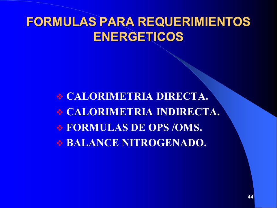 FORMULAS PARA REQUERIMIENTOS ENERGETICOS