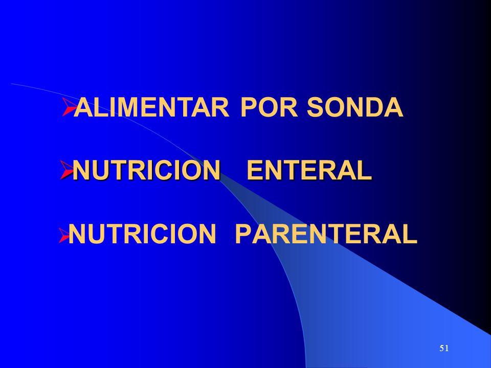 ALIMENTAR POR SONDA NUTRICION ENTERAL NUTRICION PARENTERAL