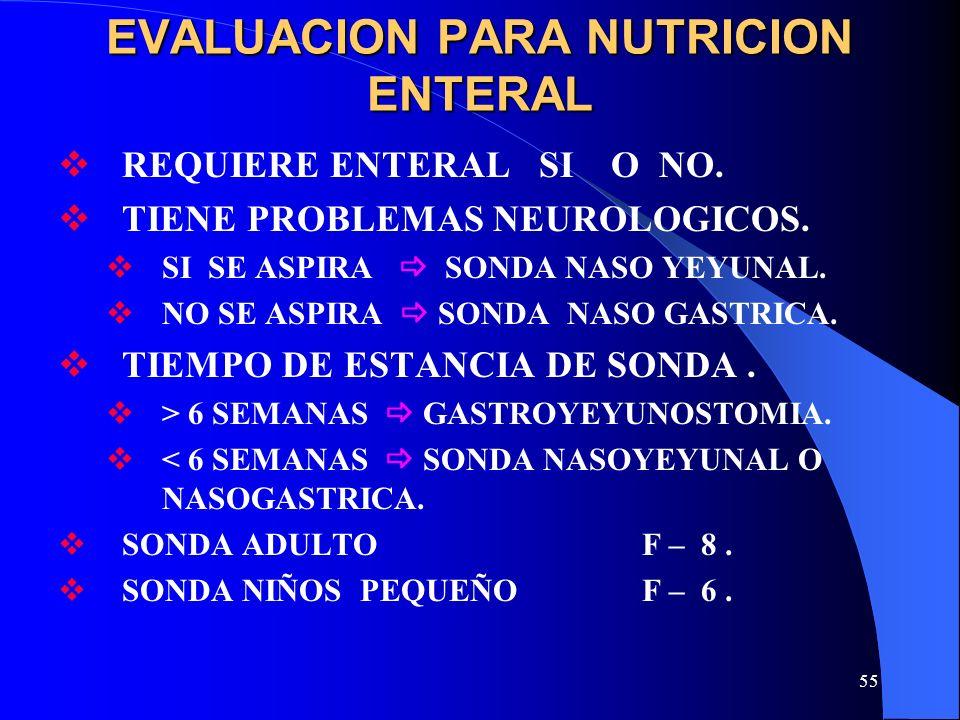 EVALUACION PARA NUTRICION ENTERAL