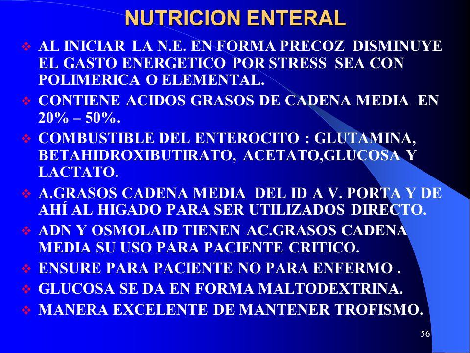 NUTRICION ENTERALAL INICIAR LA N.E. EN FORMA PRECOZ DISMINUYE EL GASTO ENERGETICO POR STRESS SEA CON POLIMERICA O ELEMENTAL.