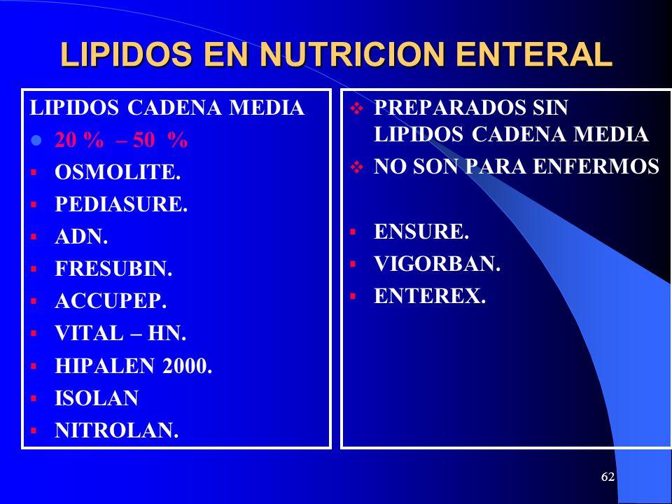 LIPIDOS EN NUTRICION ENTERAL