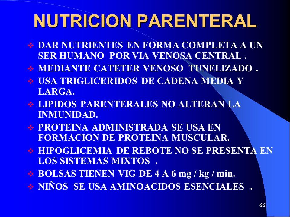 NUTRICION PARENTERAL DAR NUTRIENTES EN FORMA COMPLETA A UN SER HUMANO POR VIA VENOSA CENTRAL . MEDIANTE CATETER VENOSO TUNELIZADO .