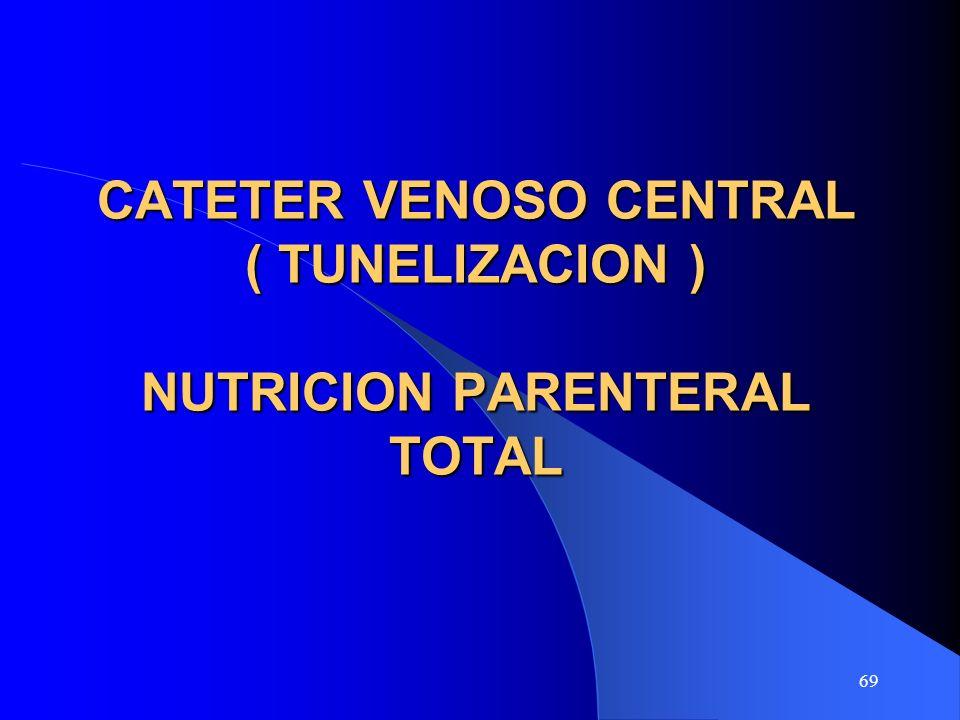 CATETER VENOSO CENTRAL ( TUNELIZACION ) NUTRICION PARENTERAL TOTAL