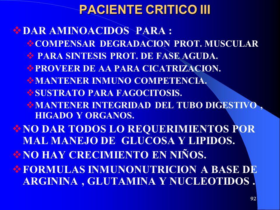 PACIENTE CRITICO III DAR AMINOACIDOS PARA :