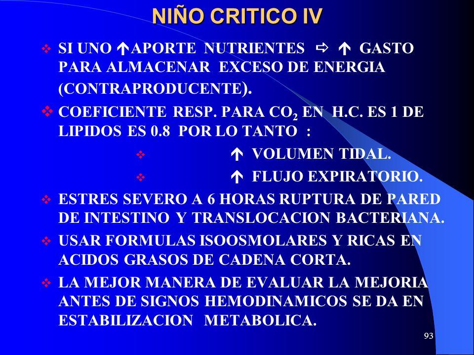 NIÑO CRITICO IVSI UNO APORTE NUTRIENTES   GASTO PARA ALMACENAR EXCESO DE ENERGIA (CONTRAPRODUCENTE).