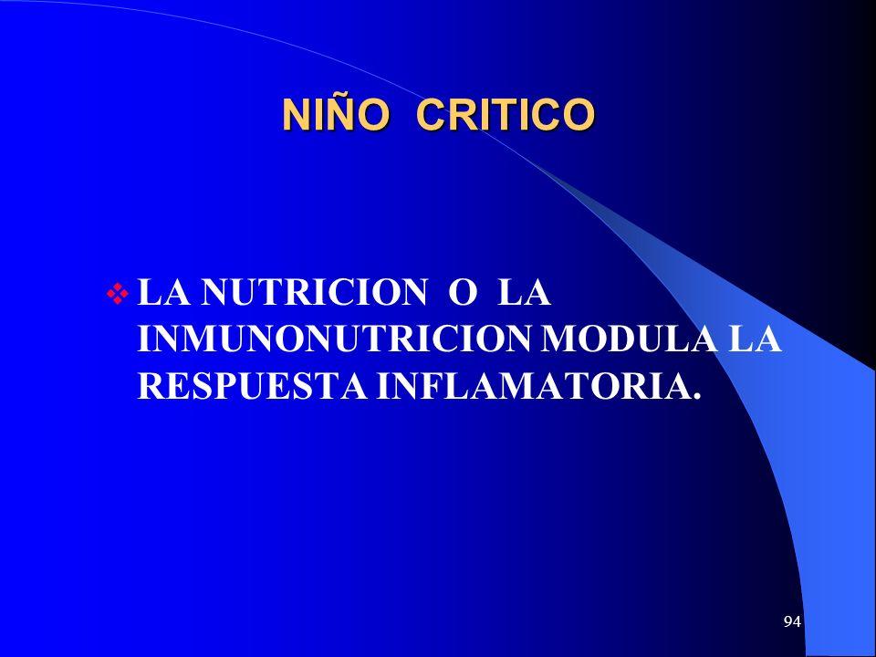 NIÑO CRITICO LA NUTRICION O LA INMUNONUTRICION MODULA LA RESPUESTA INFLAMATORIA.