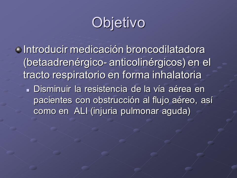 ObjetivoIntroducir medicación broncodilatadora (betaadrenérgico- anticolinérgicos) en el tracto respiratorio en forma inhalatoria.