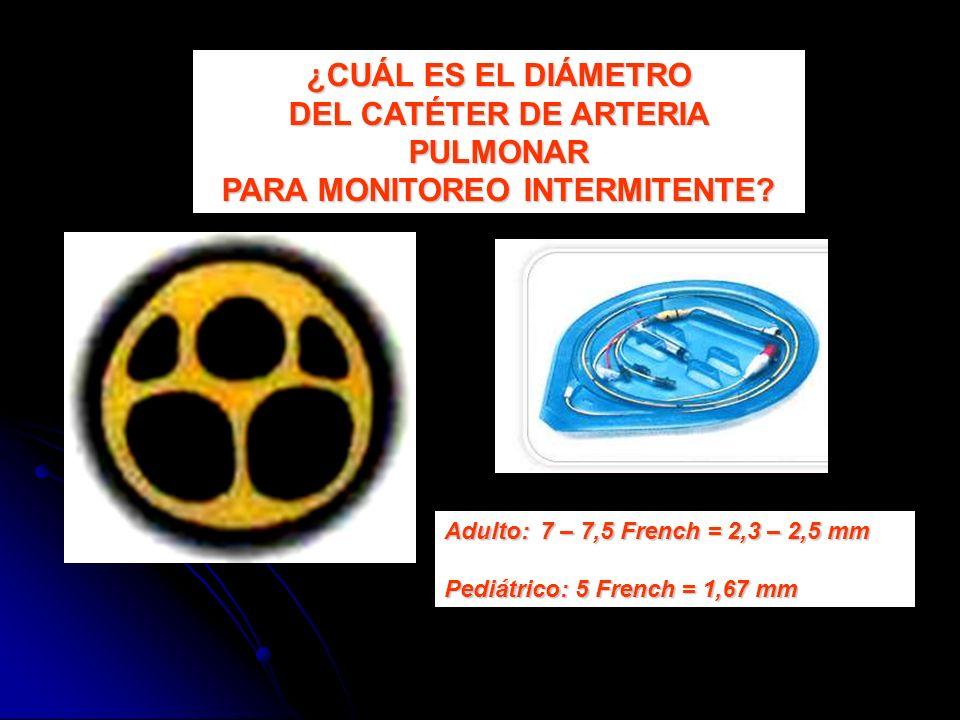 DEL CATÉTER DE ARTERIA PULMONAR PARA MONITOREO INTERMITENTE