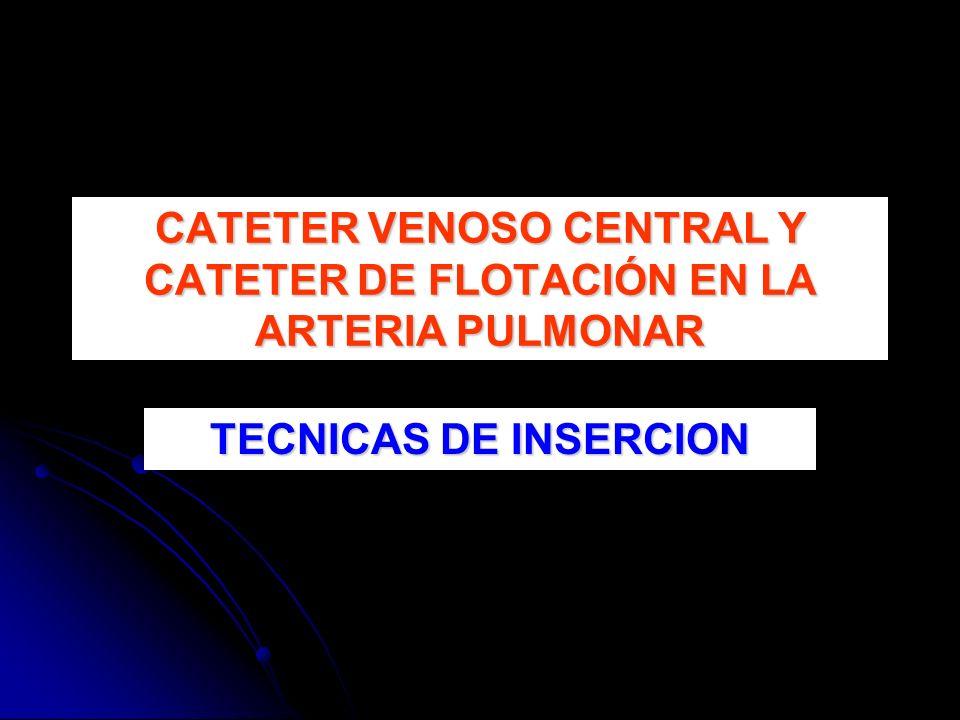CATETER VENOSO CENTRAL Y CATETER DE FLOTACIÓN EN LA ARTERIA PULMONAR
