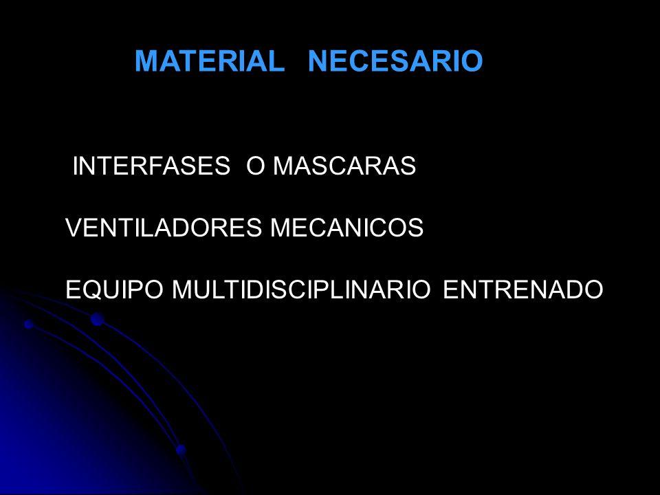 MATERIAL NECESARIO INTERFASES O MASCARAS VENTILADORES MECANICOS