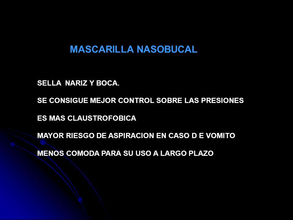 MASCARILLA NASOBUCAL SELLA NARIZ Y BOCA. SE CONSIGUE MEJOR CONTROL SOBRE LAS PRESIONES. ES MAS CLAUSTROFOBICA.