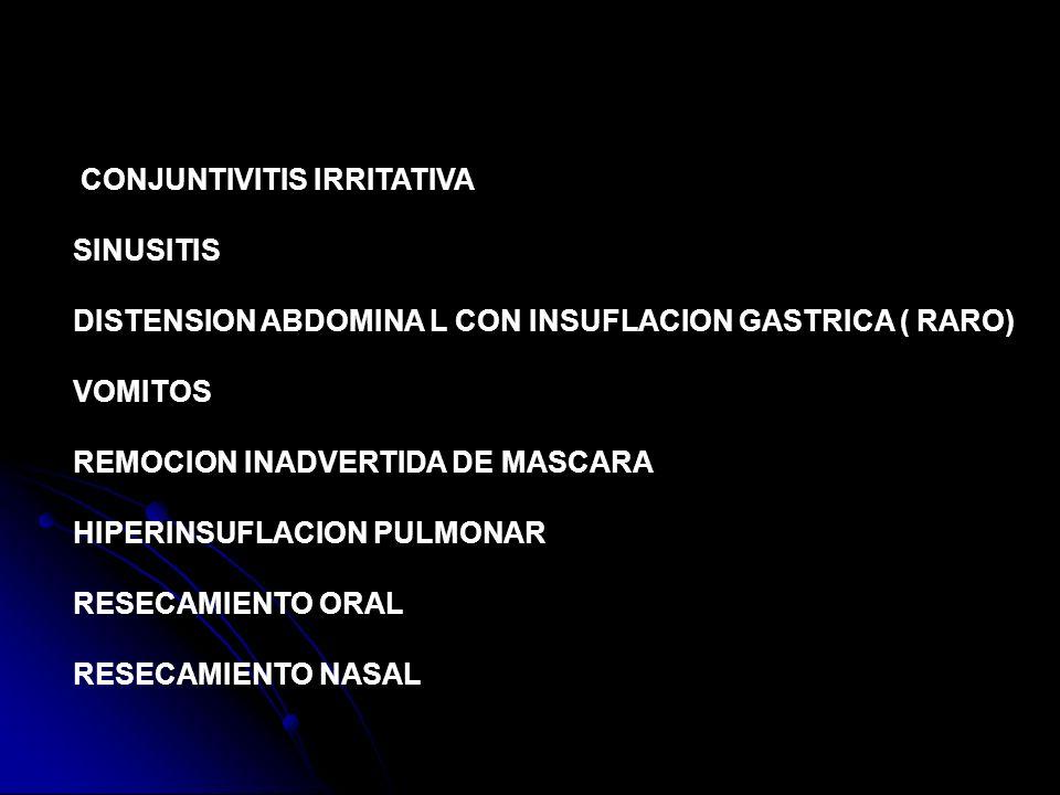 DISTENSION ABDOMINA L CON INSUFLACION GASTRICA ( RARO) VOMITOS