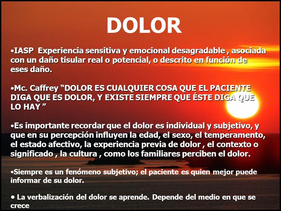 DOLORIASP Experiencia sensitiva y emocional desagradable , asociada con un daño tisular real o potencial, o descrito en función de eses daño.