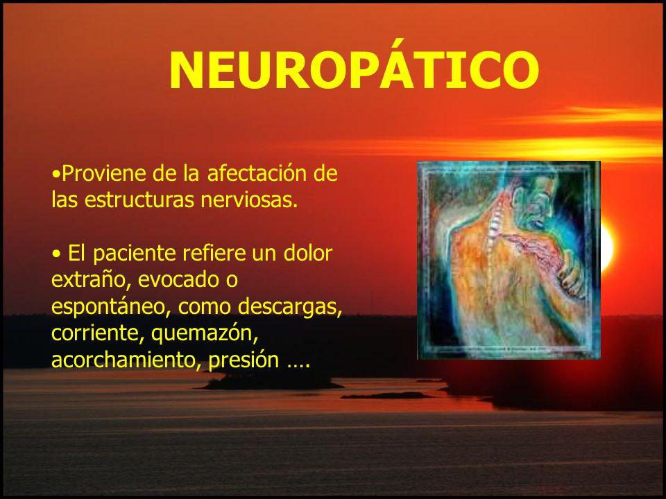 NEUROPÁTICO Proviene de la afectación de las estructuras nerviosas.