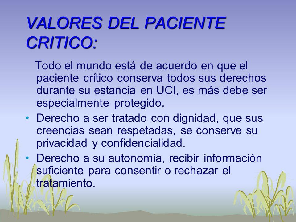 VALORES DEL PACIENTE CRITICO: