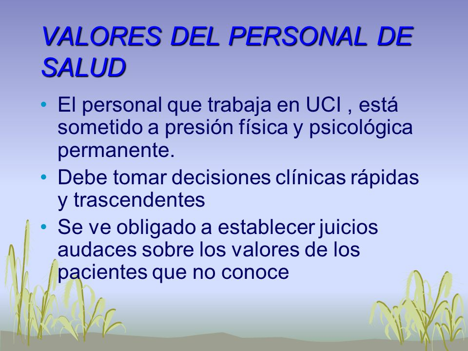 VALORES DEL PERSONAL DE SALUD