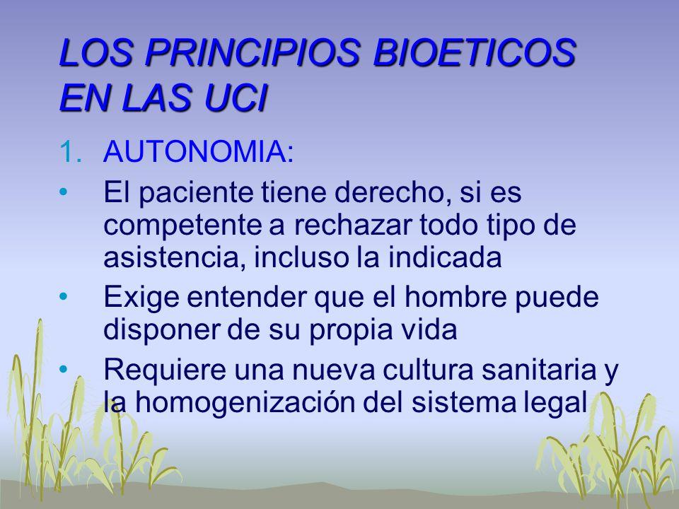 LOS PRINCIPIOS BIOETICOS EN LAS UCI