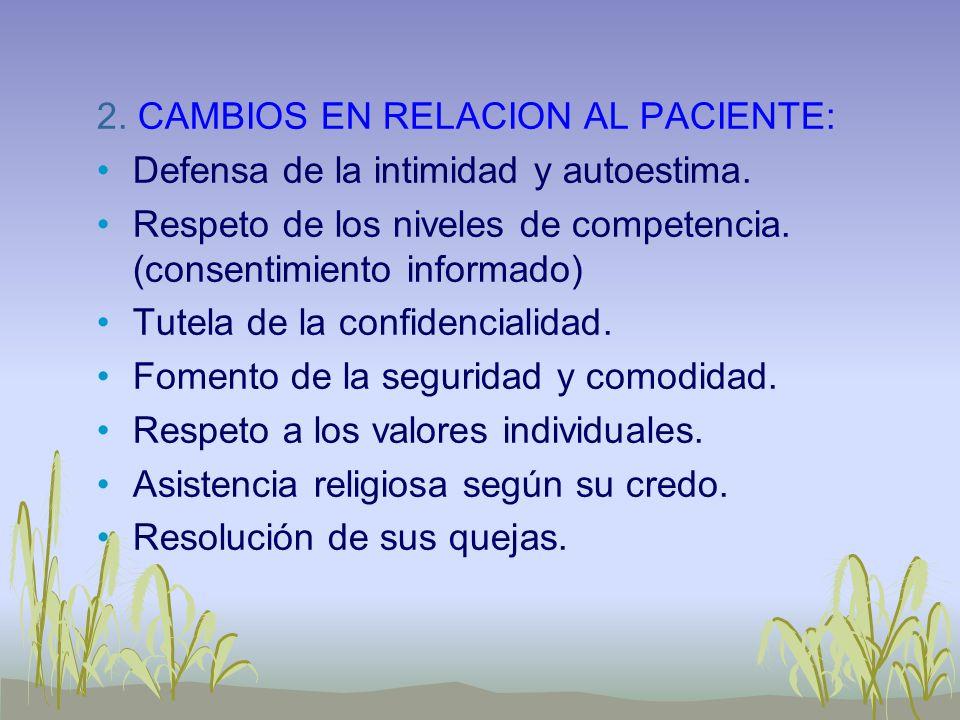 2. CAMBIOS EN RELACION AL PACIENTE: