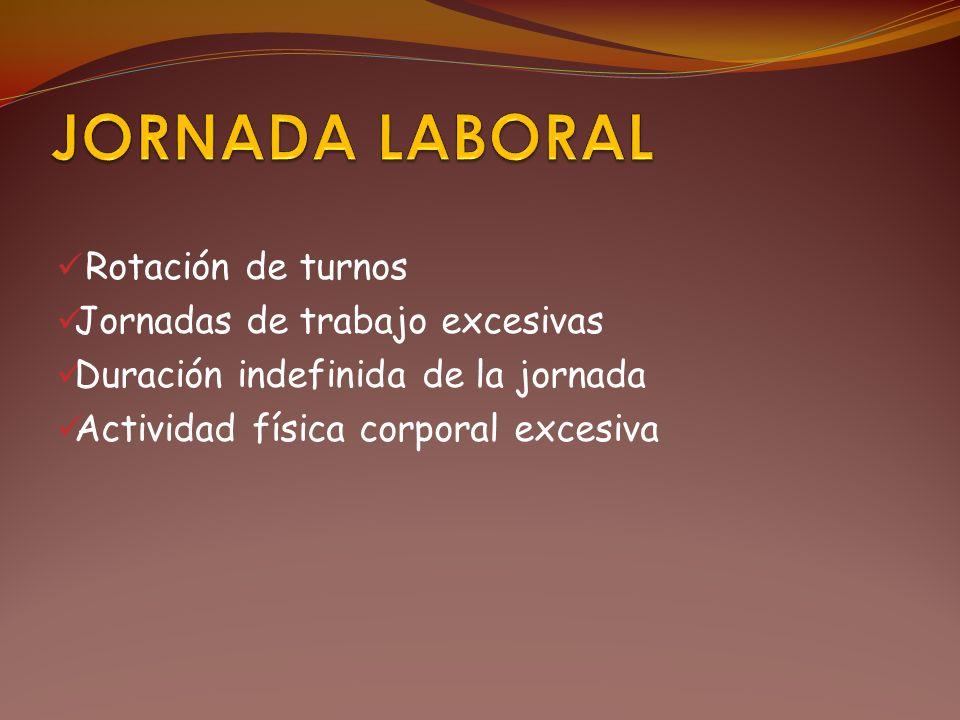 JORNADA LABORAL Rotación de turnos Jornadas de trabajo excesivas