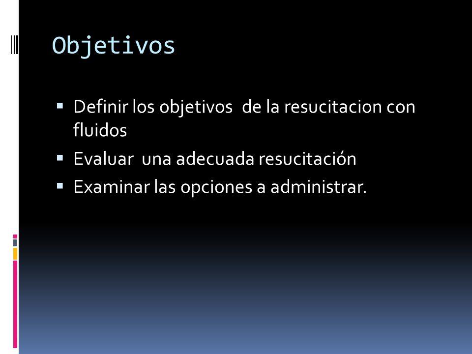 Objetivos Definir los objetivos de la resucitacion con fluidos