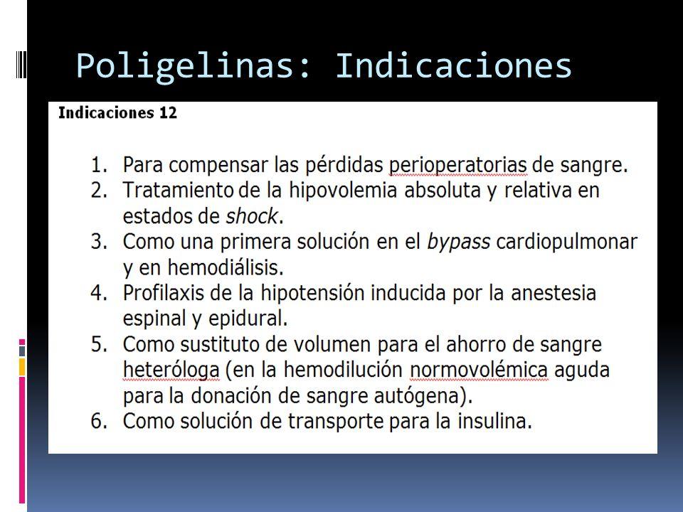 Poligelinas: Indicaciones