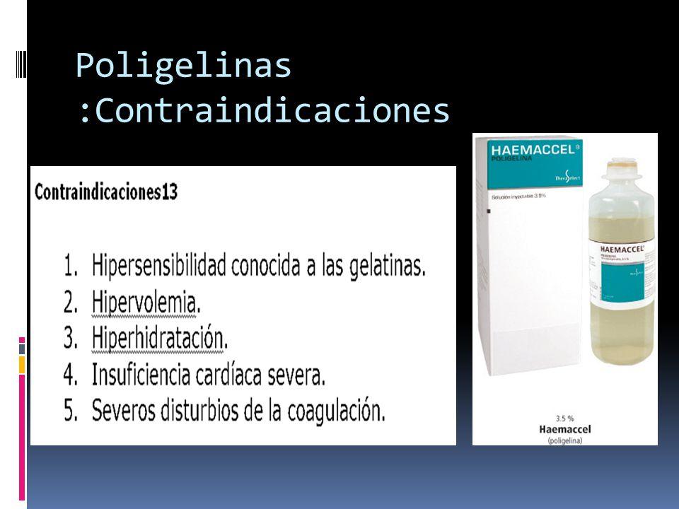 Poligelinas :Contraindicaciones