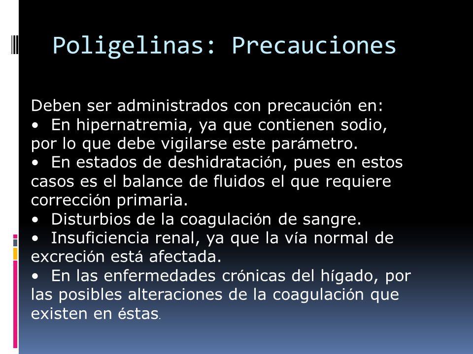 Poligelinas: Precauciones