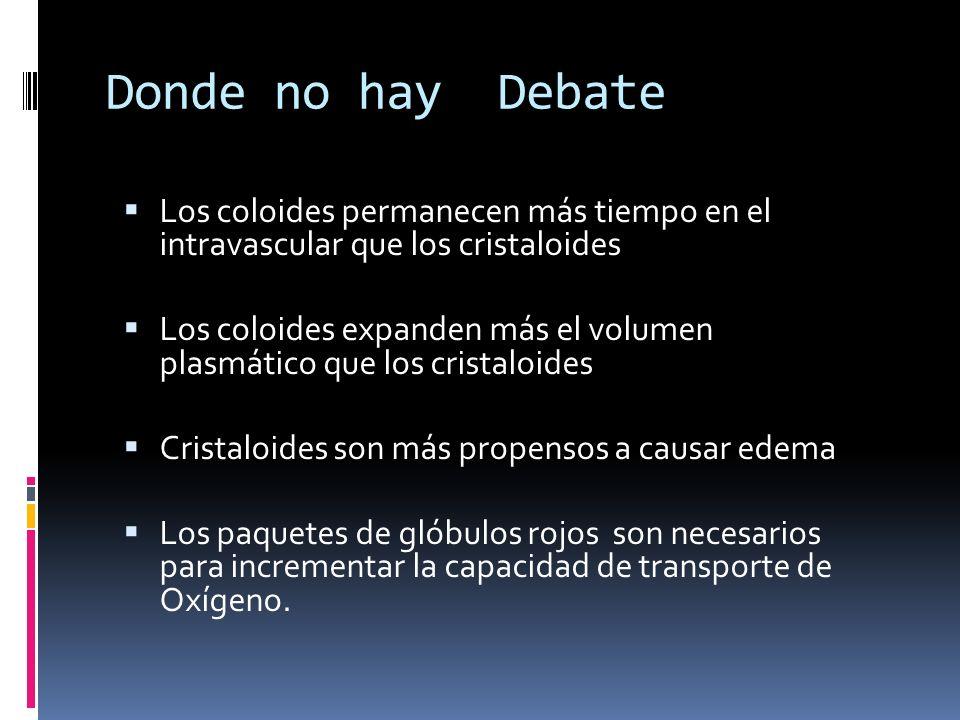 Donde no hay Debate Los coloides permanecen más tiempo en el intravascular que los cristaloides.
