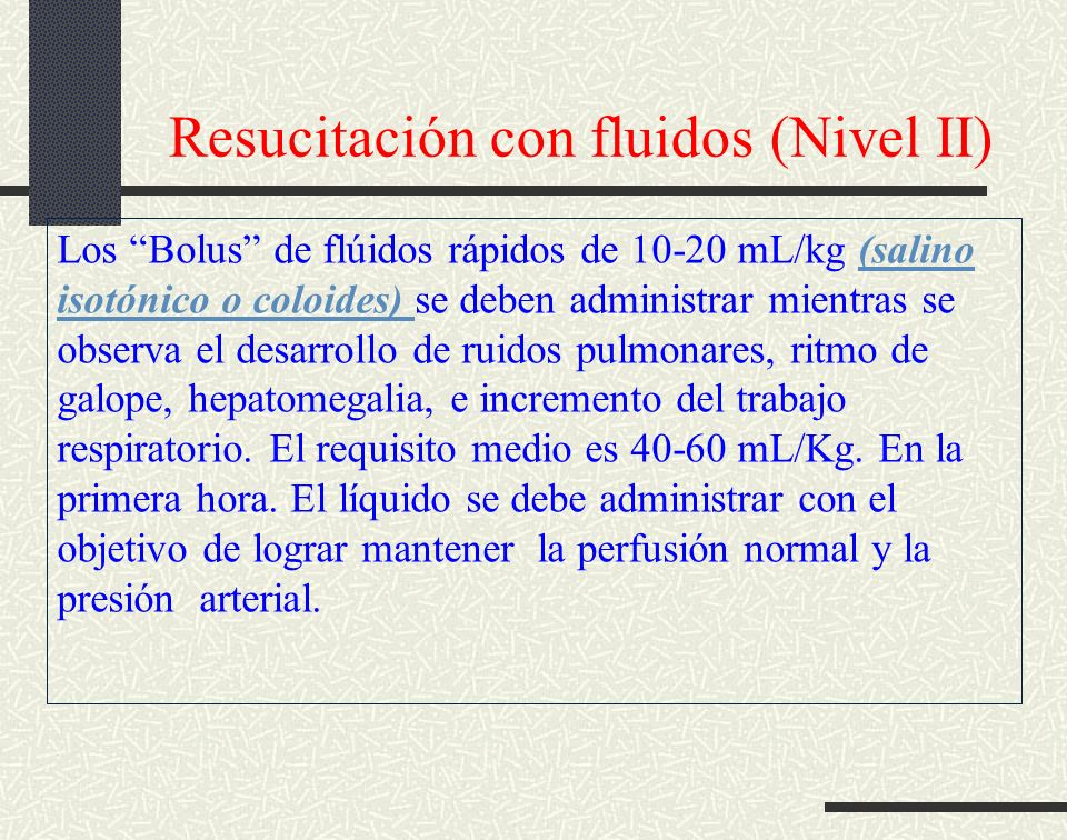 Resucitación con fluidos (Nivel II)