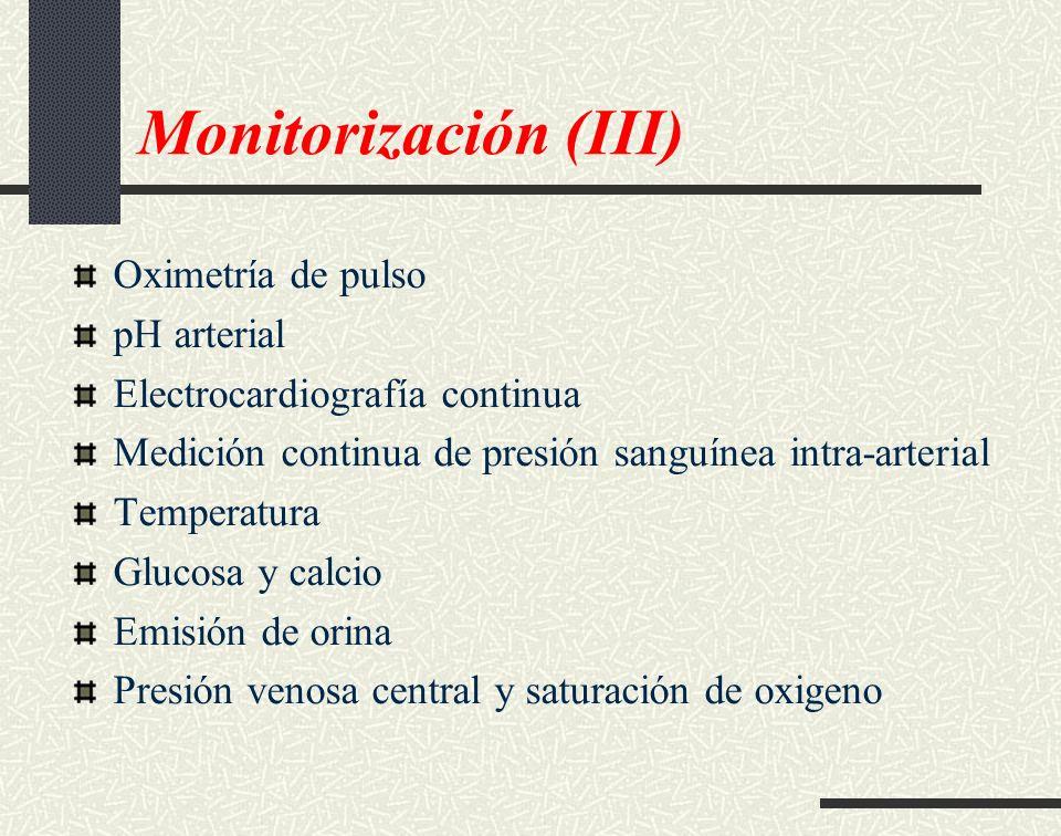 Monitorización (III) Oximetría de pulso pH arterial
