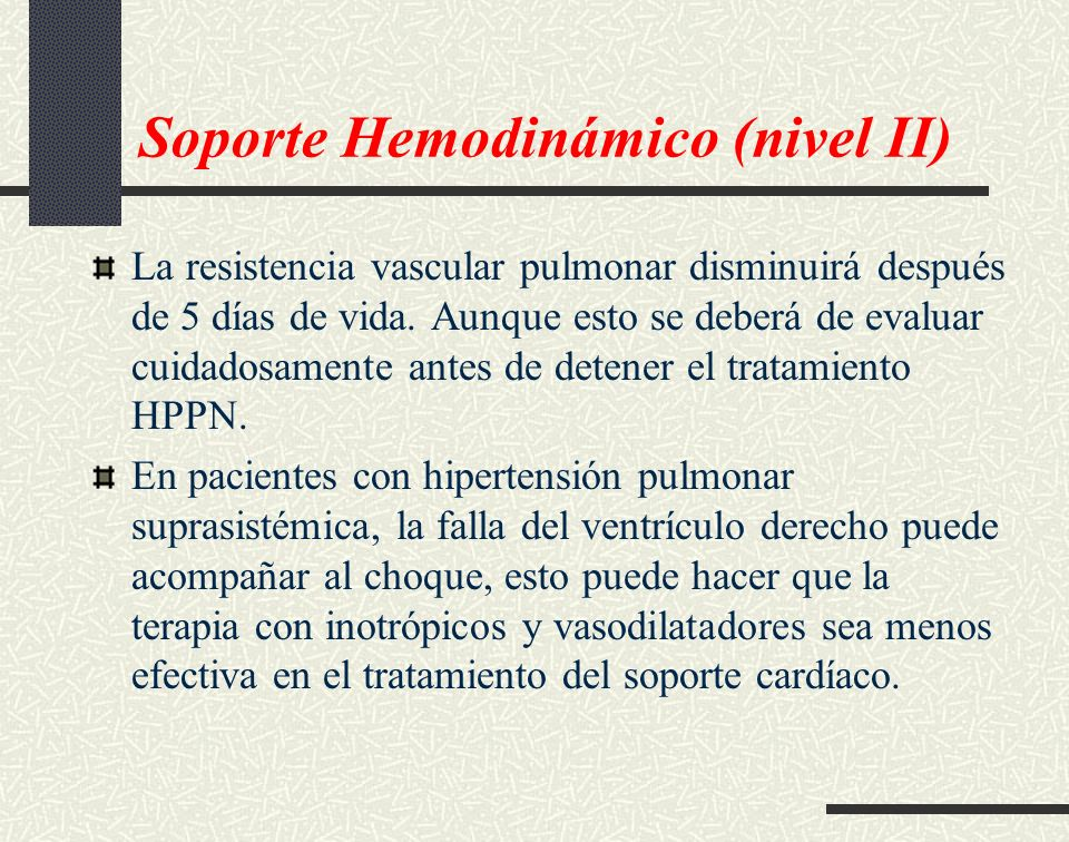 Soporte Hemodinámico (nivel II)